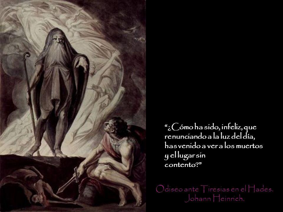 Odiseo ante Tiresias en el Hades.