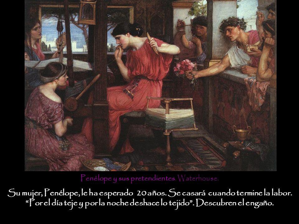 Penélope y sus pretendientes. Waterhouse.