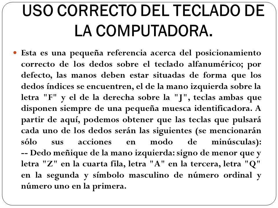 USO CORRECTO DEL TECLADO DE LA COMPUTADORA.
