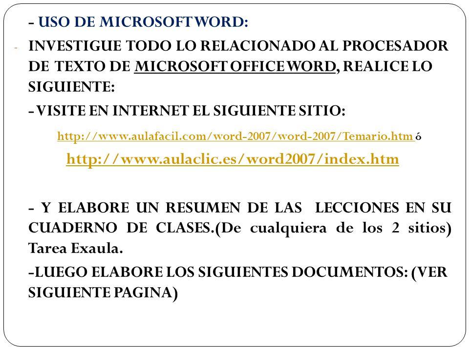 http://www.aulafacil.com/word-2007/word-2007/Temario.htm ó