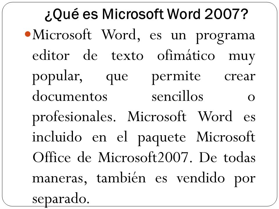 ¿Qué es Microsoft Word 2007