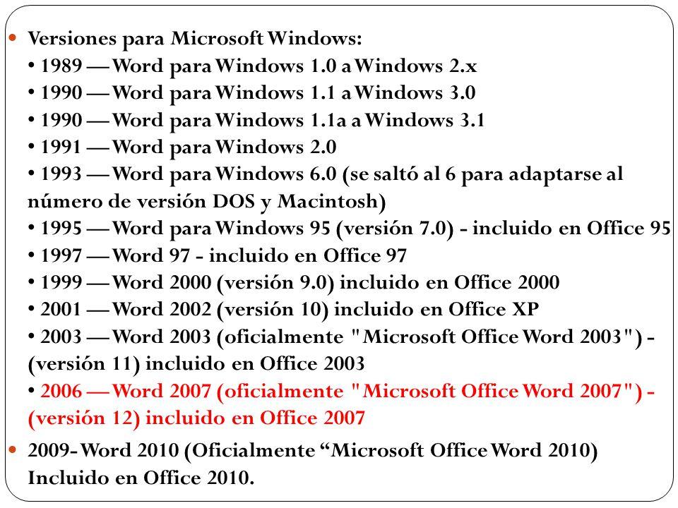 Versiones para Microsoft Windows: • 1989 — Word para Windows 1