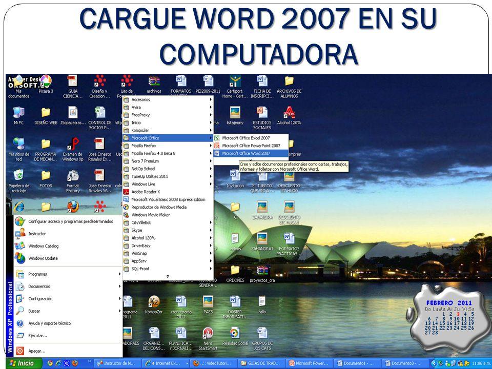 CARGUE WORD 2007 EN SU COMPUTADORA
