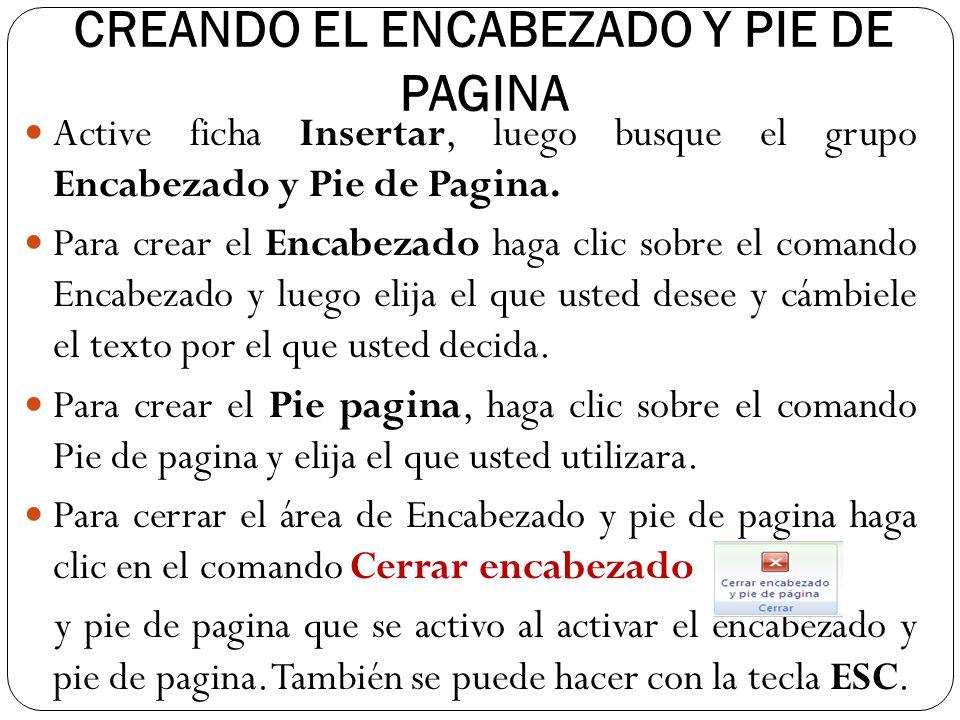 CREANDO EL ENCABEZADO Y PIE DE PAGINA