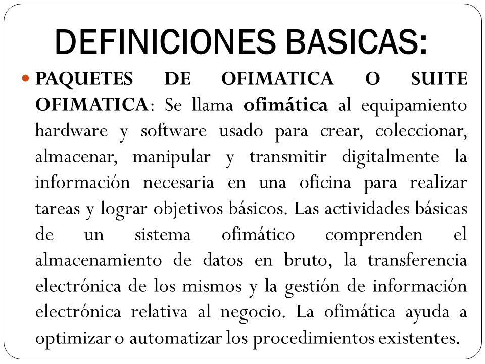 DEFINICIONES BASICAS: