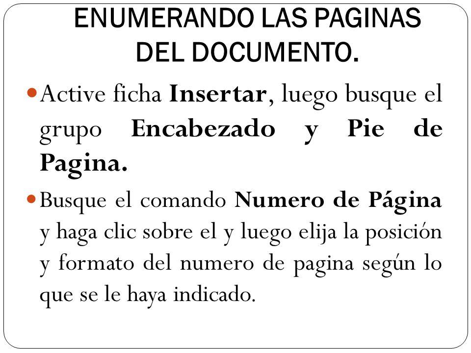 ENUMERANDO LAS PAGINAS DEL DOCUMENTO.