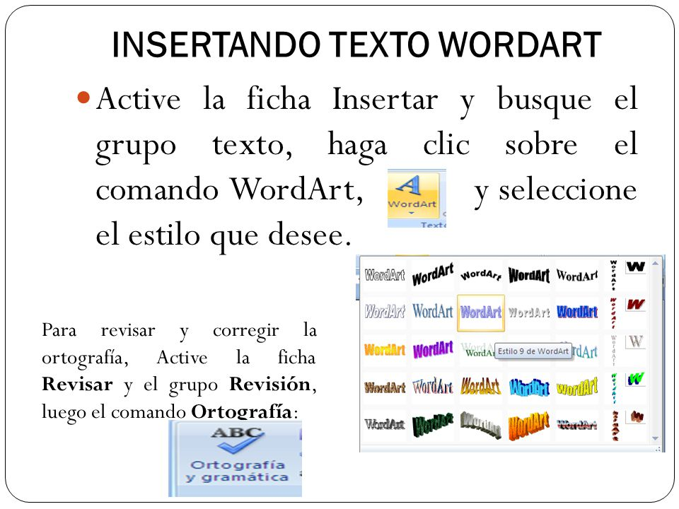 INSERTANDO TEXTO WORDART