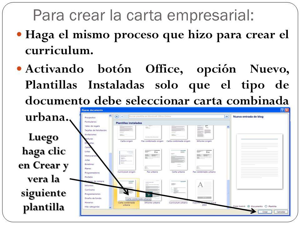 Para crear la carta empresarial: