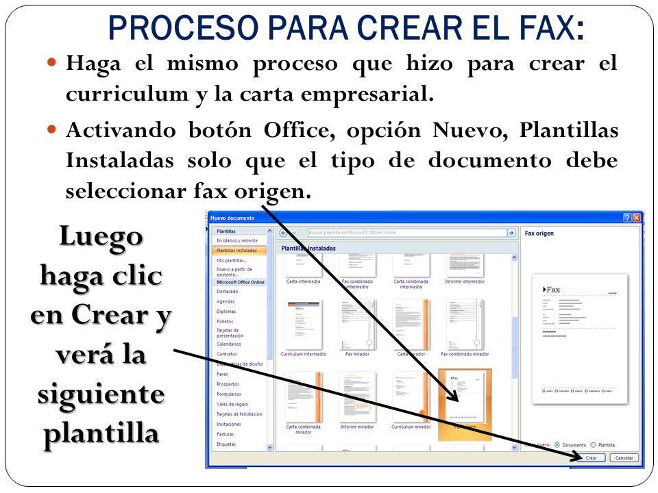 PROCESO PARA CREAR EL FAX: