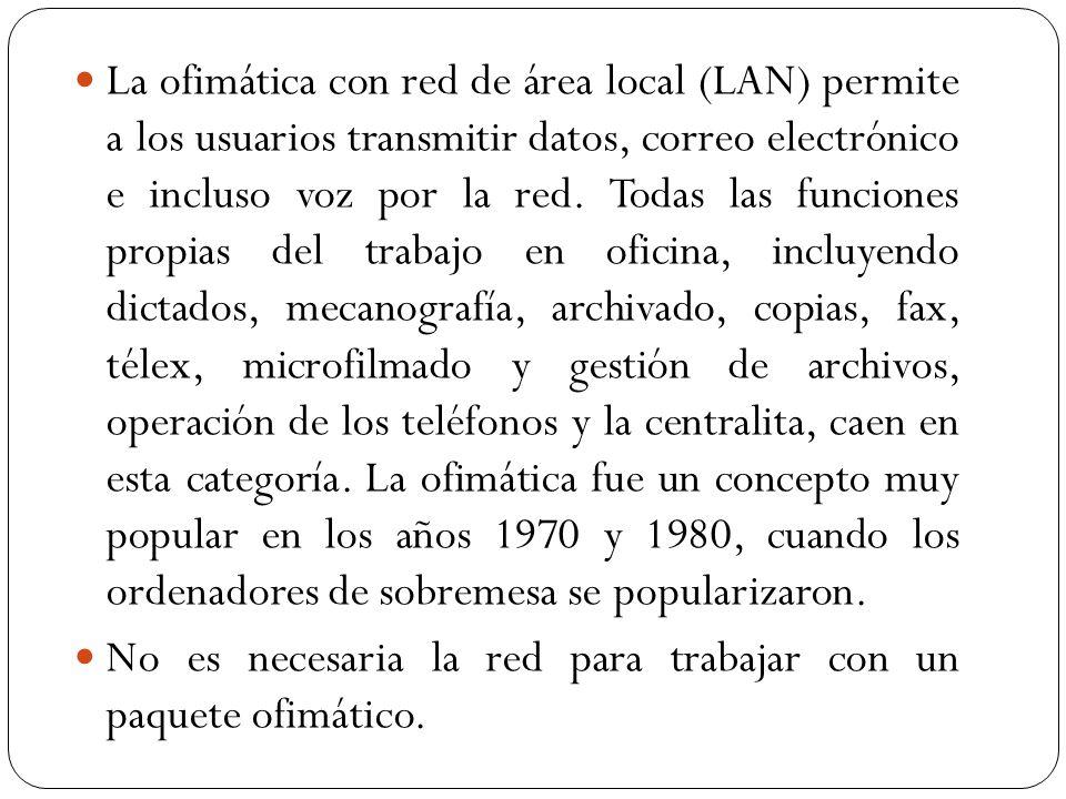 La ofimática con red de área local (LAN) permite a los usuarios transmitir datos, correo electrónico e incluso voz por la red. Todas las funciones propias del trabajo en oficina, incluyendo dictados, mecanografía, archivado, copias, fax, télex, microfilmado y gestión de archivos, operación de los teléfonos y la centralita, caen en esta categoría. La ofimática fue un concepto muy popular en los años 1970 y 1980, cuando los ordenadores de sobremesa se popularizaron.