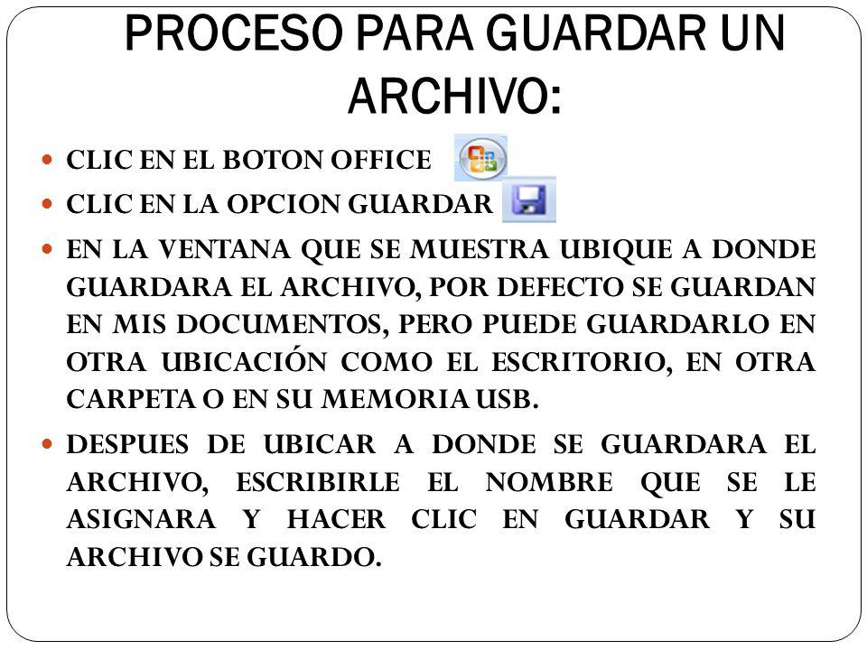 PROCESO PARA GUARDAR UN ARCHIVO: