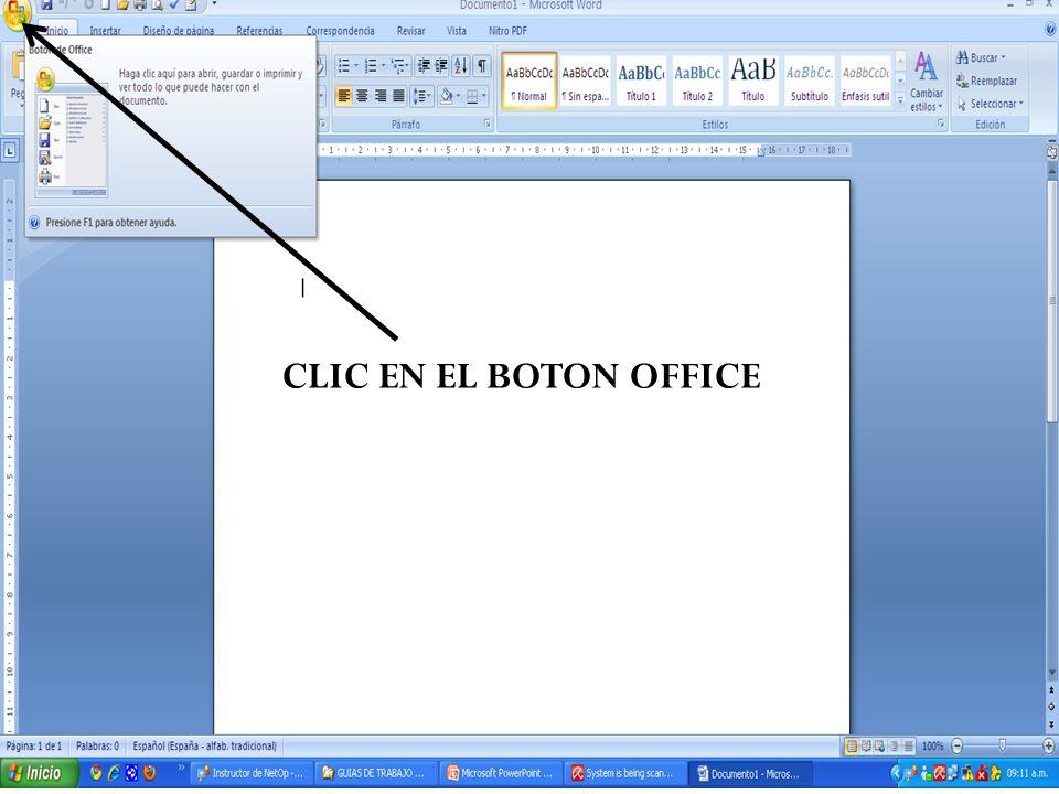 CLIC EN EL BOTON OFFICE