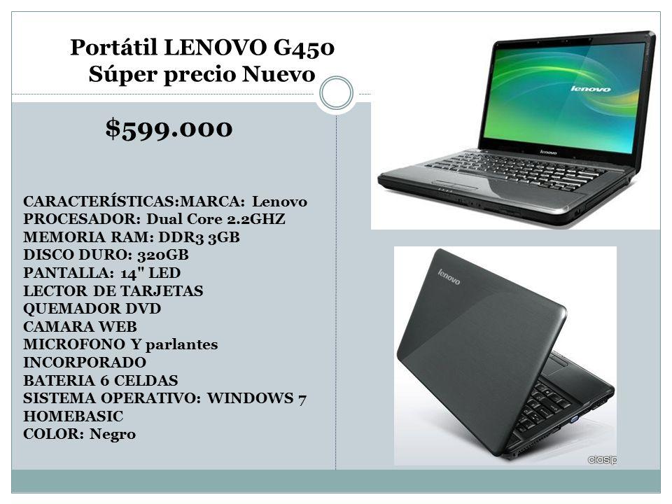 $599.000 Portátil LENOVO G450 Súper precio Nuevo