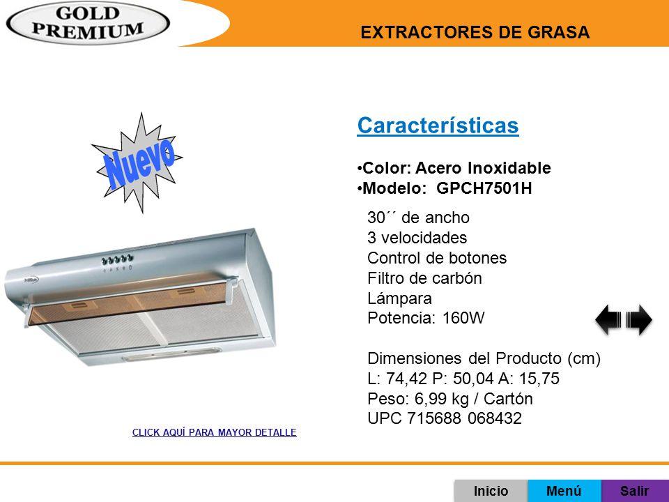 Características EXTRACTORES DE GRASA Color: Acero Inoxidable