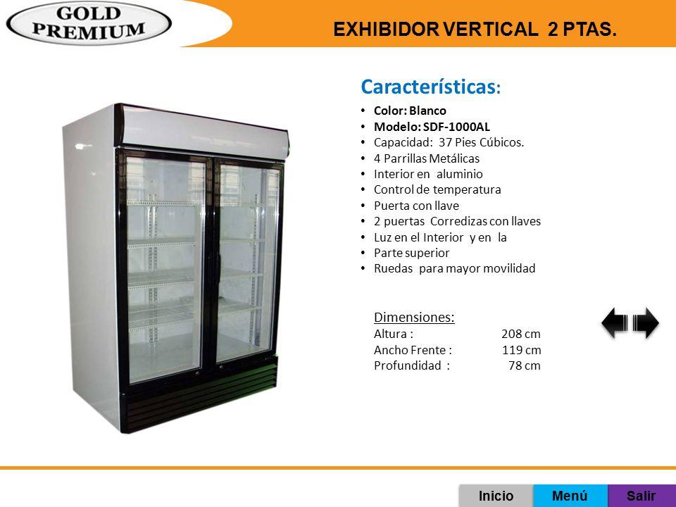 Características: Exhibidor Vertical 2 ptas. Dimensiones: Color: Blanco