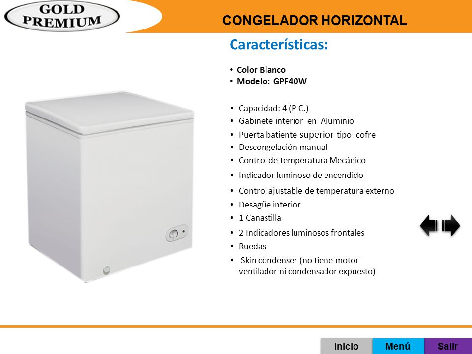 Características: CONGELADOR HORIZONTAL Color Blanco Modelo: GPF40W