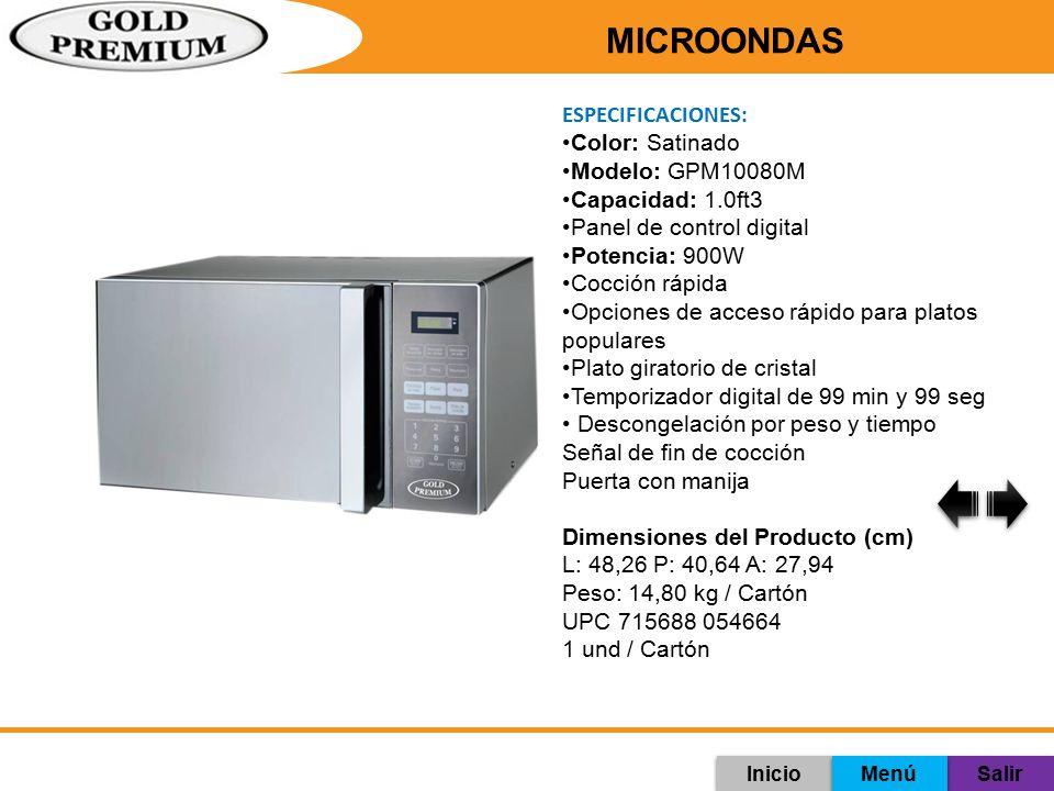 MICROONDAS ESPECIFICACIONES: Color: Satinado Modelo: GPM10080M