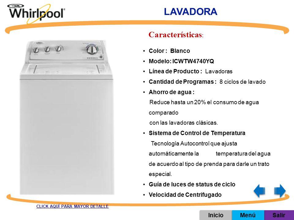LAVADORA Características: Color : Blanco Modelo: ICWTW4740YQ