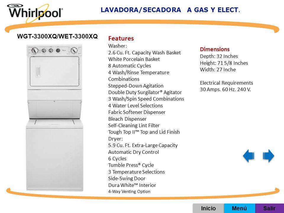 LAVADORA/SECADORA A GAS Y ELECT.