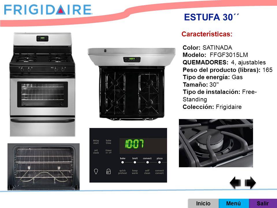 ESTUFA 30´´ Características: Color: SATINADA Modelo: FFGF3015LM
