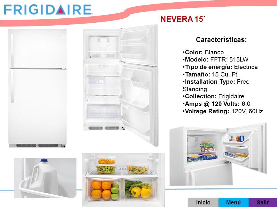 NEVERA 15´ Características: Color: Blanco Modelo: FFTR1515LW