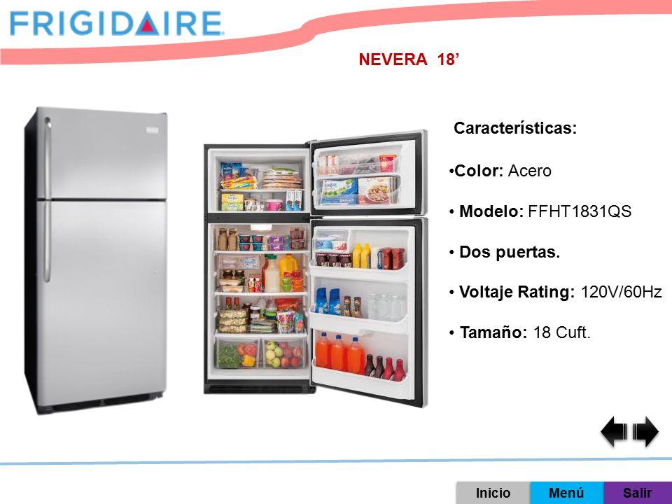 NEVERA 18' Características: Color: Acero Modelo: FFHT1831QS