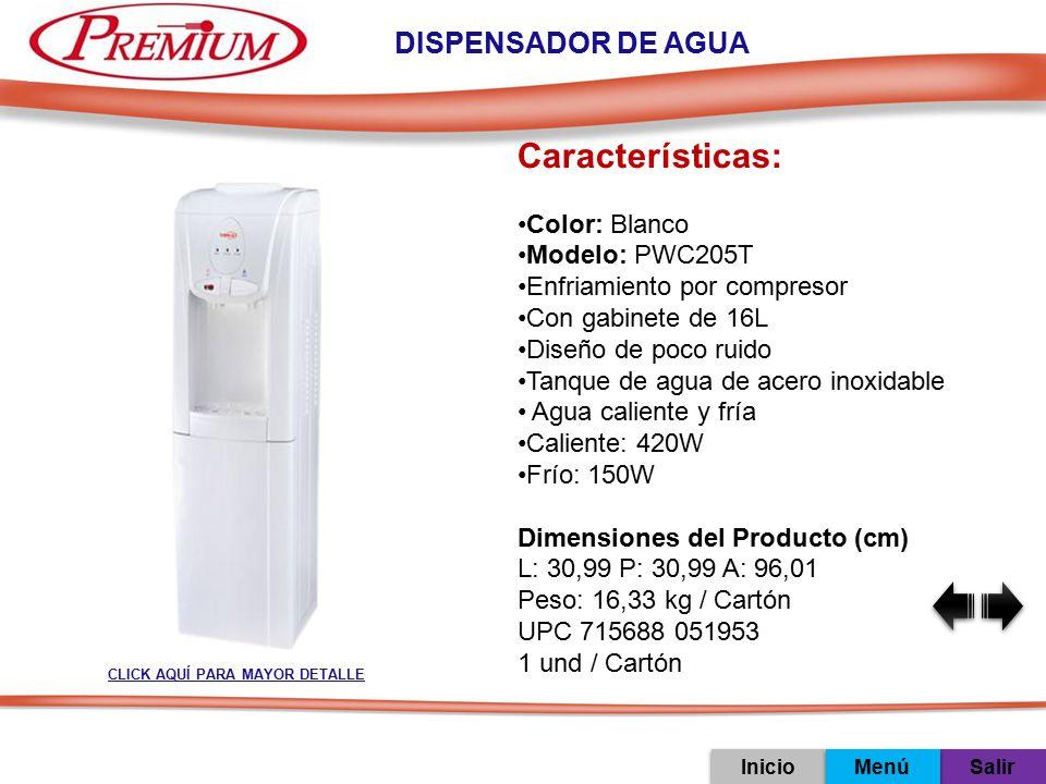 Características: DISPENSADOR DE AGUA Color: Blanco Modelo: PWC205T