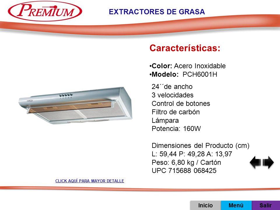 Características: EXTRACTORES DE GRASA Color: Acero Inoxidable
