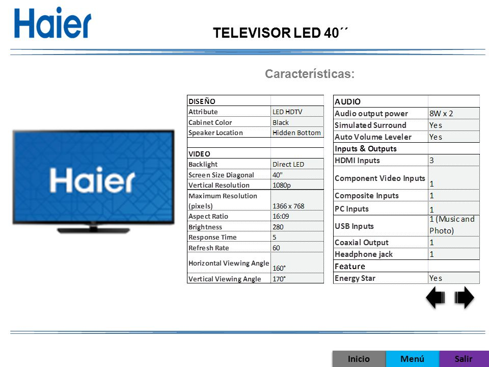 TELEVISOR LED 40´´ Características: Inicio Menú Salir