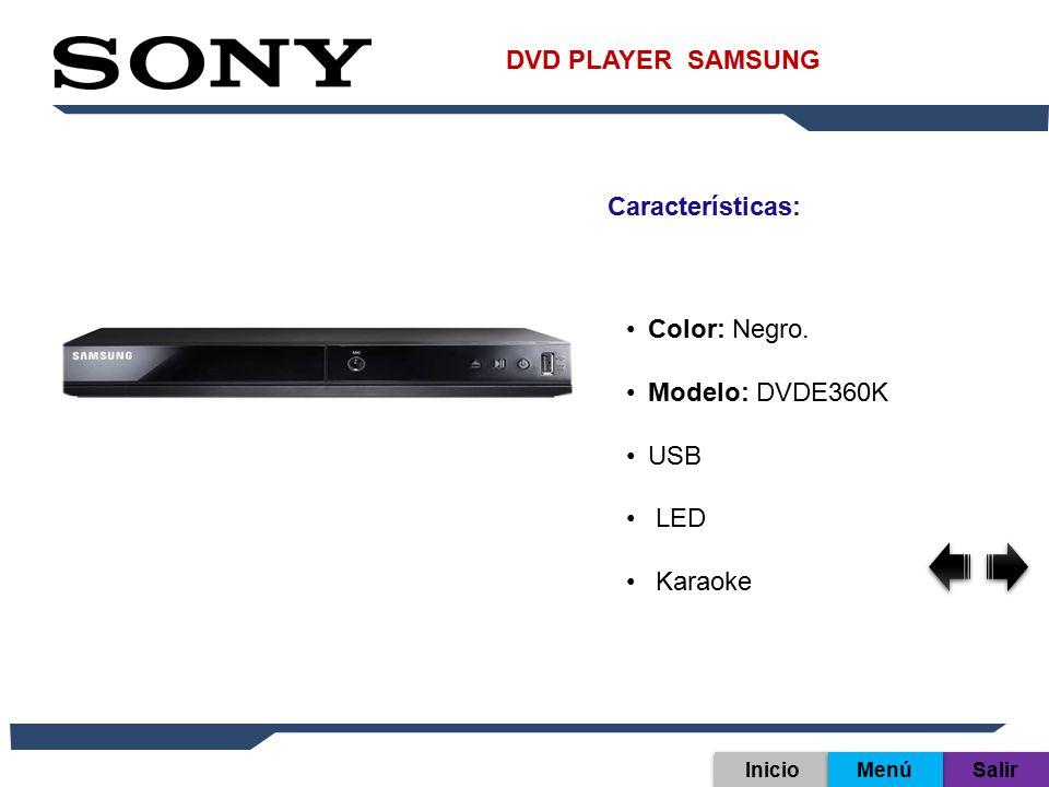 DVD PLAYER SAMSUNG Características: Color: Negro. Modelo: DVDE360K USB