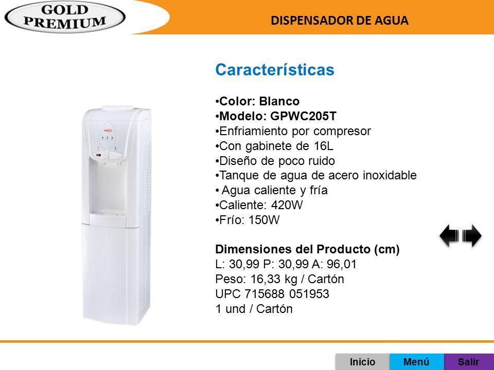 Características DISPENSADOR DE AGUA Color: Blanco Modelo: GPWC205T