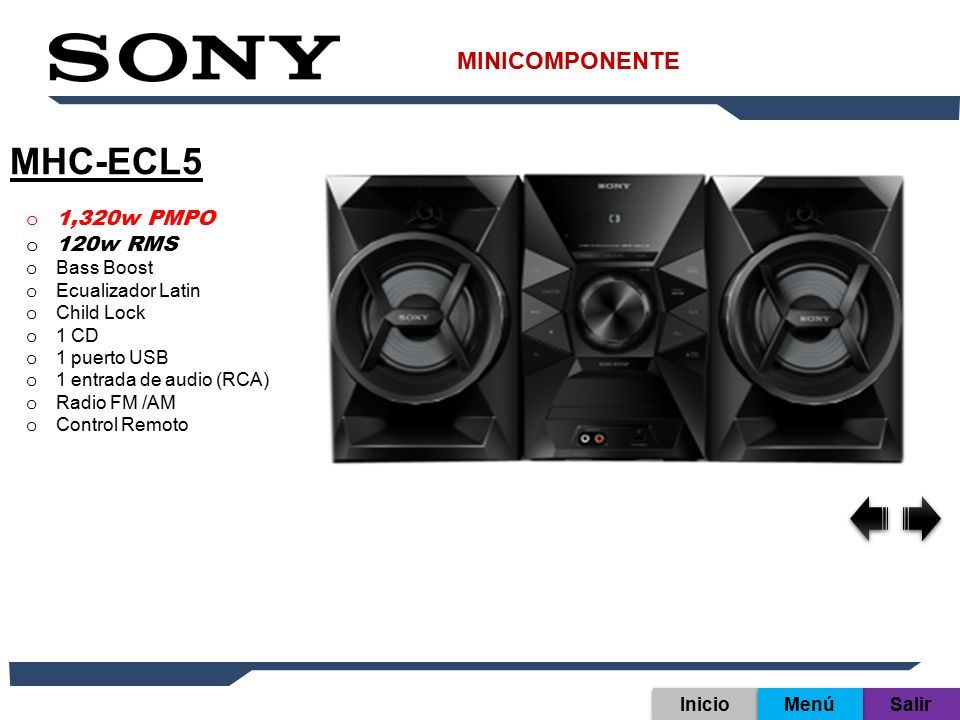 MHC-ECL5 MINICOMPONENTE 1,320w PMPO 120w RMS Bass Boost