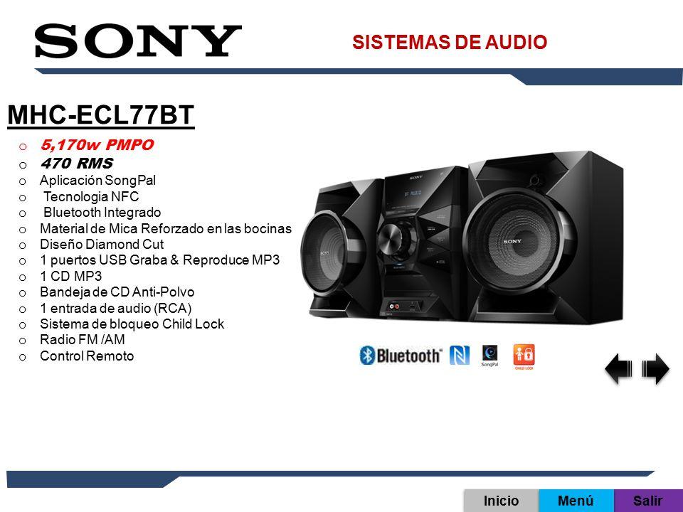MHC-ECL77BT SISTEMAS DE AUDIO 5,170w PMPO 470 RMS Aplicación SongPal