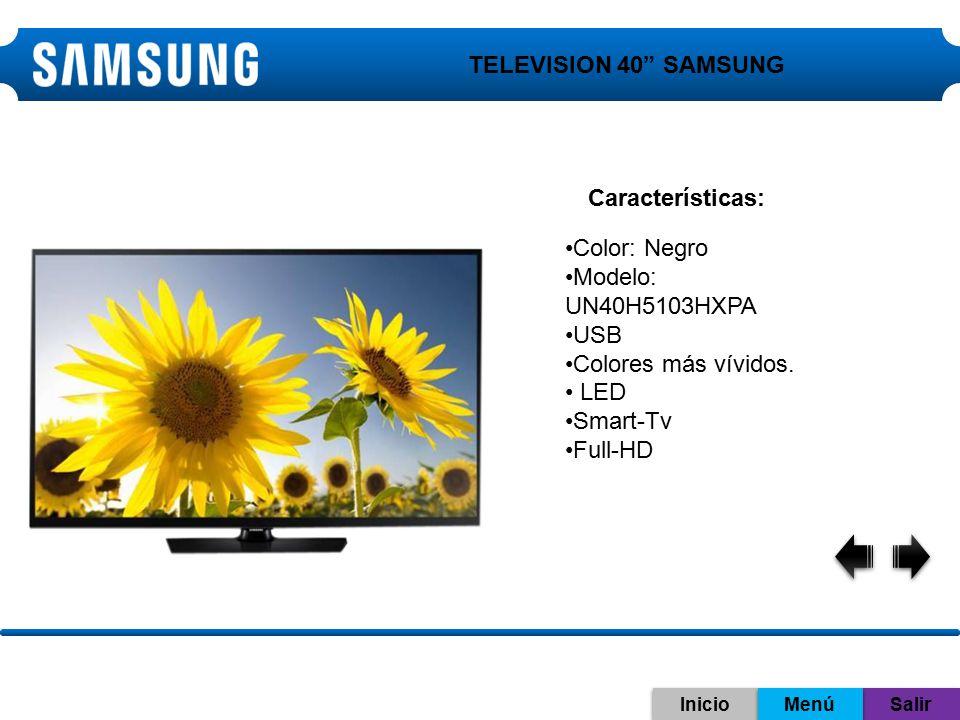 TELEVISION 40 SAMSUNG Características: Color: Negro
