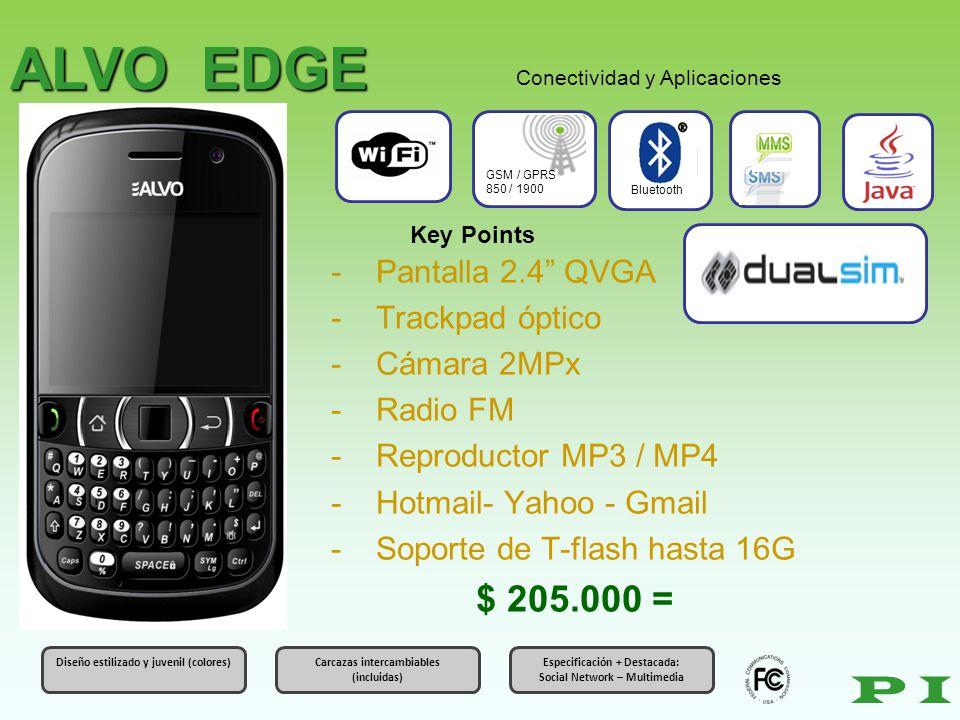 ALVO EDGE P I $ 205.000 = Pantalla 2.4 QVGA Trackpad óptico