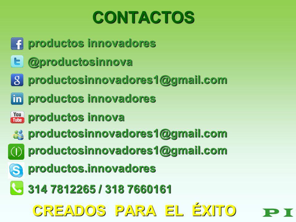 CONTACTOS CREADOS PARA EL ÉXITO P I productos innovadores