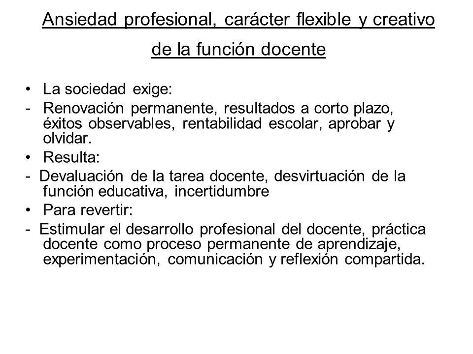 Ansiedad profesional, carácter flexible y creativo de la función docente