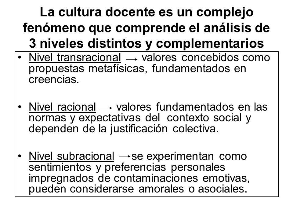 La cultura docente es un complejo fenómeno que comprende el análisis de 3 niveles distintos y complementarios