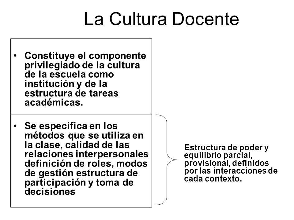 La Cultura Docente Constituye el componente privilegiado de la cultura de la escuela como institución y de la estructura de tareas académicas.