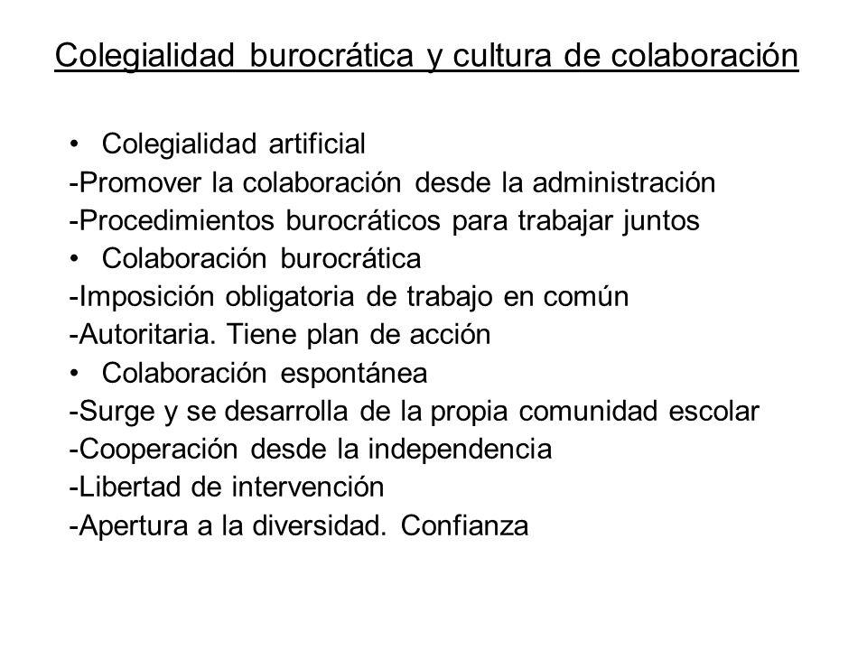 Colegialidad burocrática y cultura de colaboración