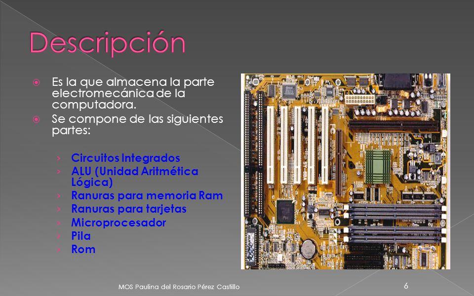 Descripción Es la que almacena la parte electromecánica de la computadora. Se compone de las siguientes partes: