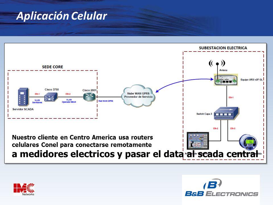 Aplicación Celular Nuestro cliente en Centro America usa routers. celulares Conel para conectarse remotamente.