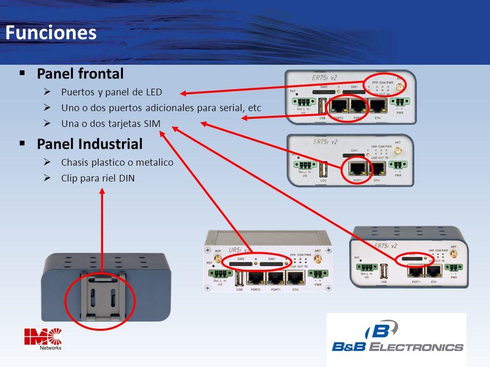 Funciones Panel frontal Panel Industrial Puertos y panel de LED