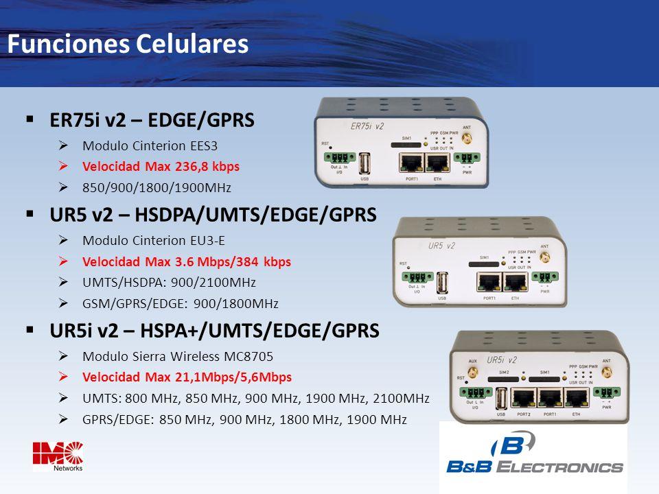 Funciones Celulares ER75i v2 – EDGE/GPRS UR5 v2 – HSDPA/UMTS/EDGE/GPRS