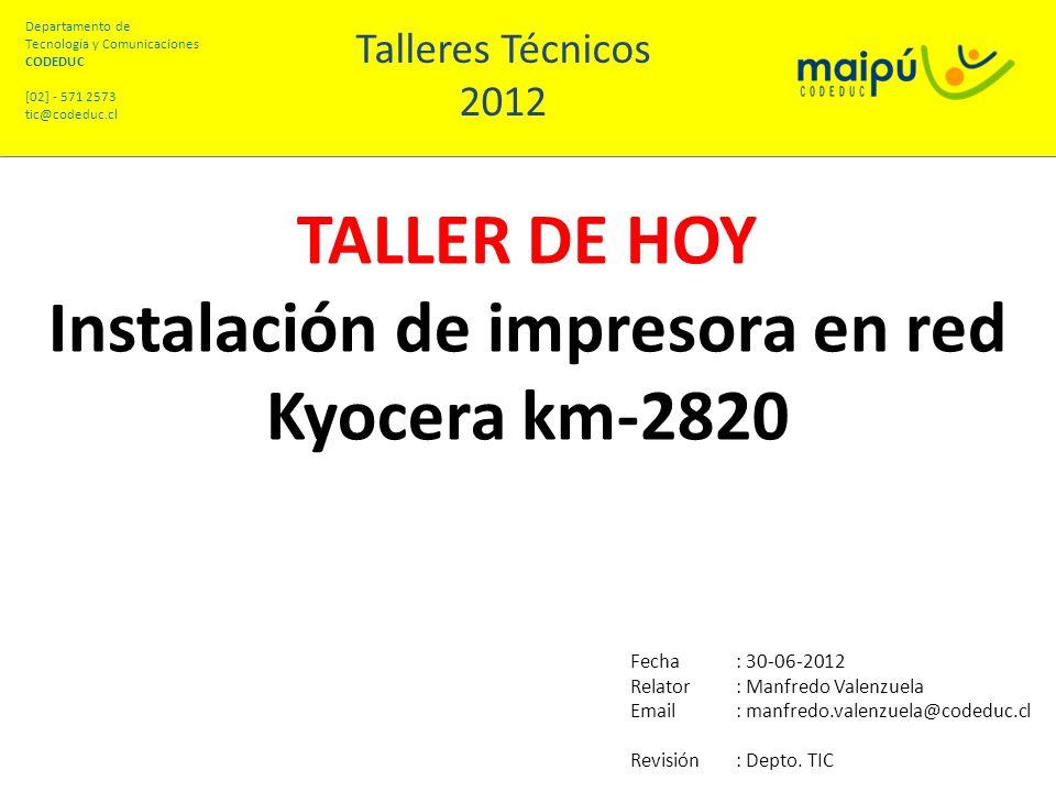 Instalación de impresora en red Kyocera km-2820