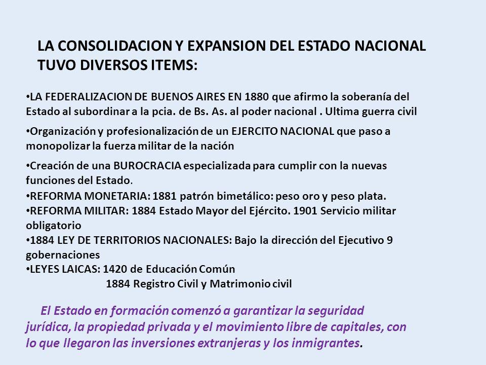LA CONSOLIDACION Y EXPANSION DEL ESTADO NACIONAL TUVO DIVERSOS ITEMS:
