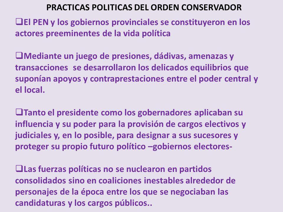 PRACTICAS POLITICAS DEL ORDEN CONSERVADOR