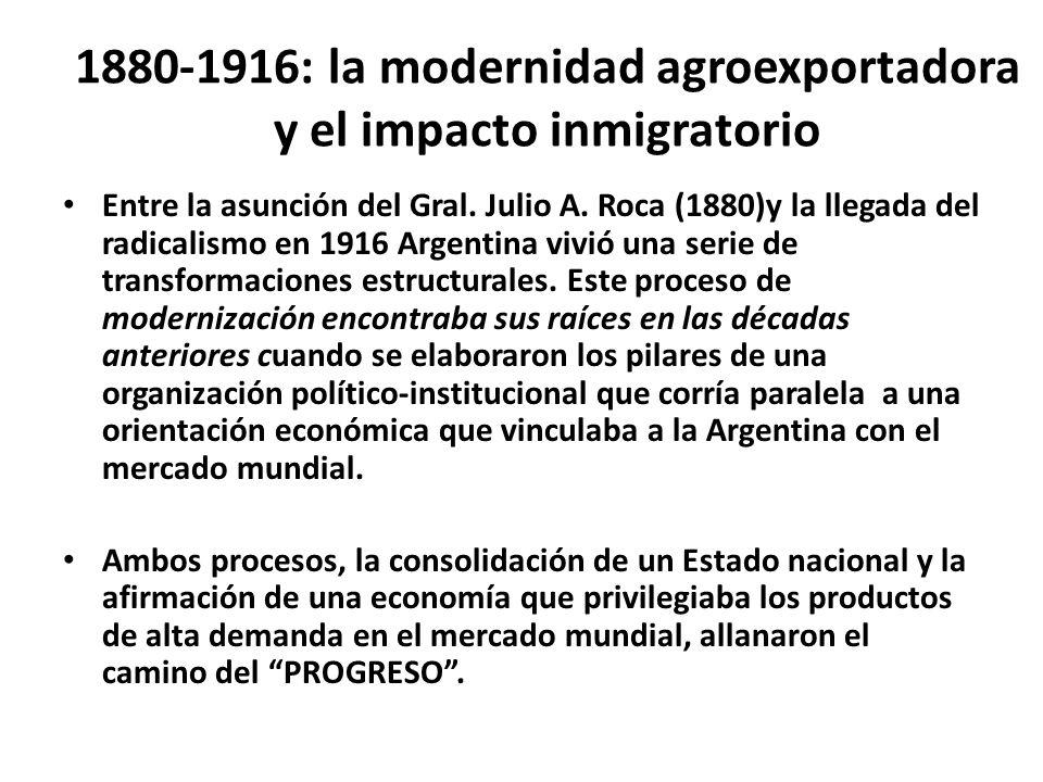 1880-1916: la modernidad agroexportadora y el impacto inmigratorio