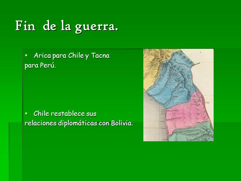 Fin de la guerra. Arica para Chile y Tacna para Perú.