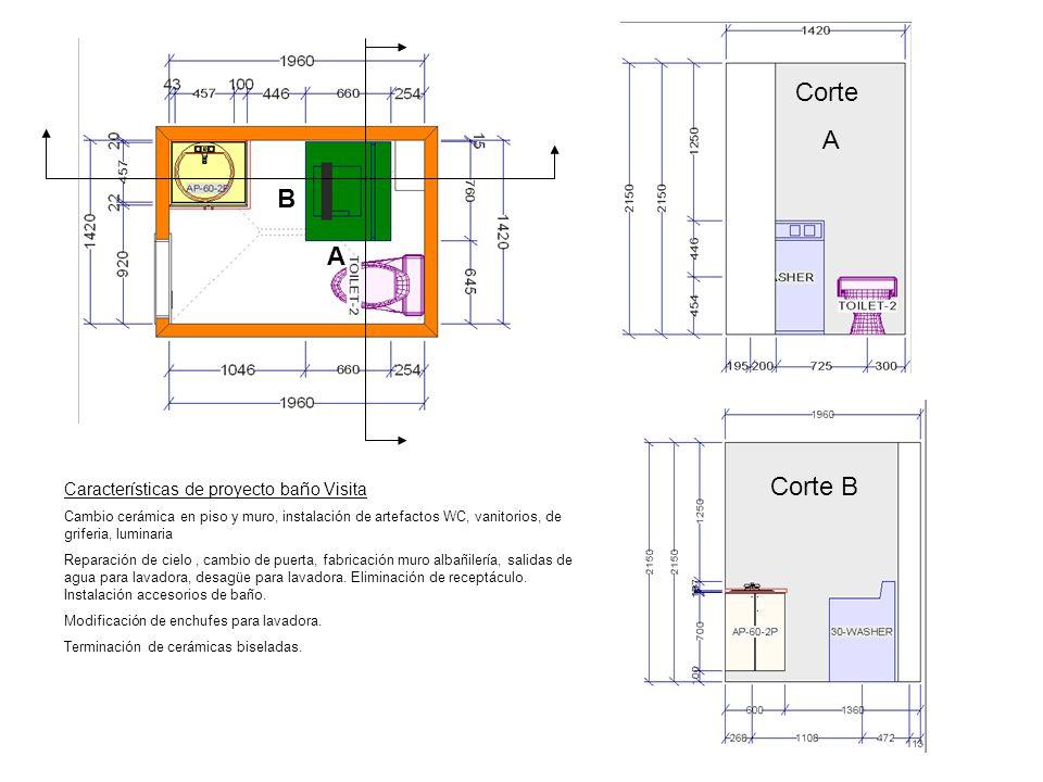 Corte A B A Corte B Características de proyecto baño Visita